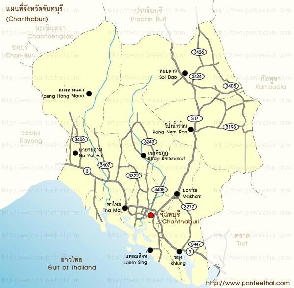 แผนที่จังหวัดจันทบุรี